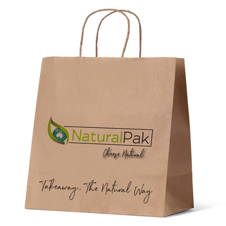 Picture of NaturalPak Brand - Brown Kraft Paper Takeaway Bags